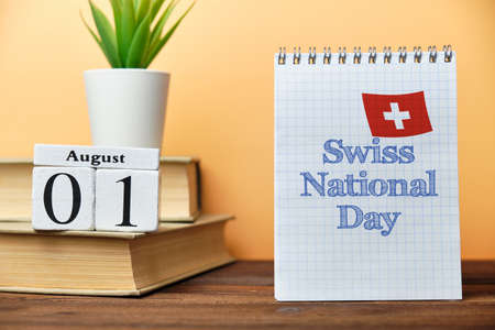 1st august - Swiss National Day. First day month calendar concept on wooden blocks Banque d'images