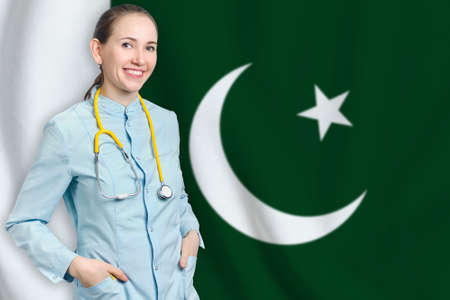 Islamic Republic of Pakistan healthcare concept with doctor on flag background. Medical insurance, work or study in the country Banque d'images
