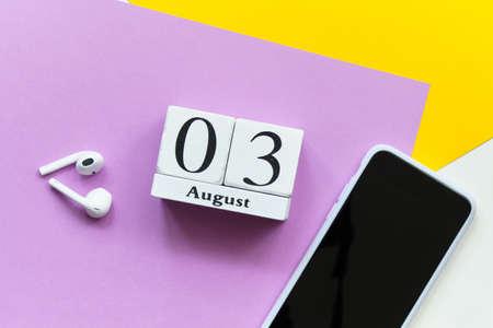 3st august - third day month calendar concept on wooden blocks.
