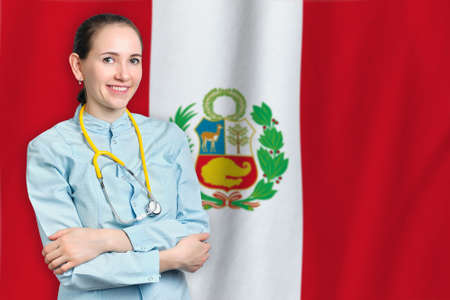 Republic of Peru healthcare concept with doctor on flag background. Medical insurance, work or study in the country