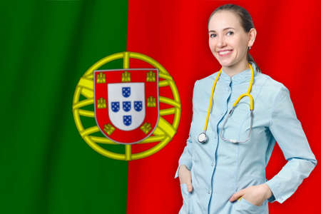 Portuguese Republic healthcare concept with doctor on Portugal flag background. Medical insurance, work or study in the country