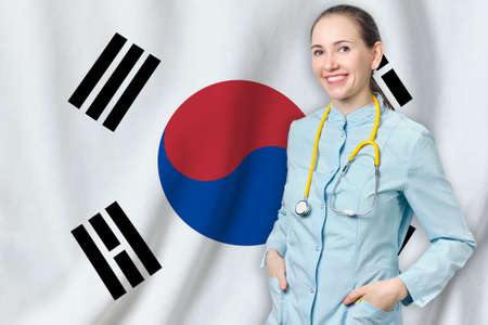 South Korea healthcare concept with doctor on flag background. Medical insurance, work or study in the country