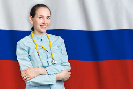 Russian Federation healthcare concept with doctor on flag background. Medical insurance, work or study in the country