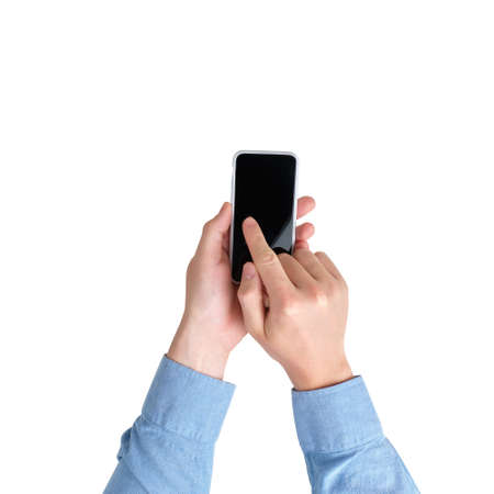 Hands with smartphone with top view on a white background. Isolated.