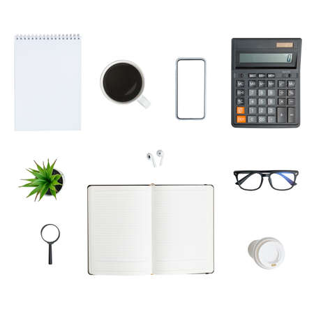 Group of different office items notebook, coffee.