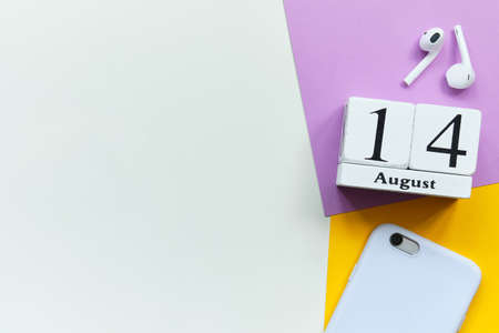 14th august - fourteenth day month calendar concept on wooden blocks with copy space