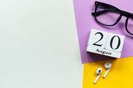 20th august - twentieth day month calendar concept on wooden blocks with copy space