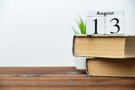 13th august - thirteenth day month calendar concept on wooden blocks with copy space 写真素材
