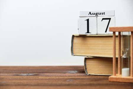 17th august - seventeenth day month calendar concept on wooden blocks with copy space