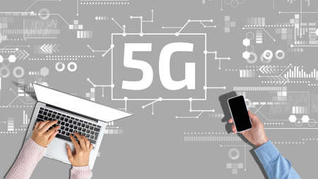 5G networks concept with abstract graphics on gray background.