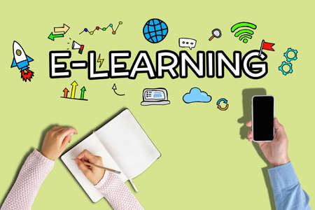 E-learning concept with abstract graphics on yellow background.