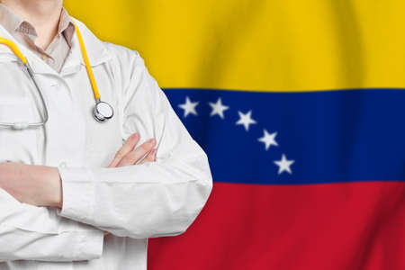 Bolivarian Republic of Venezuela healthcare concept with doctor on background. Medical insurance, work or study in the country