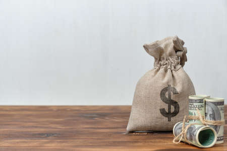 Money bag on white background with copy space.