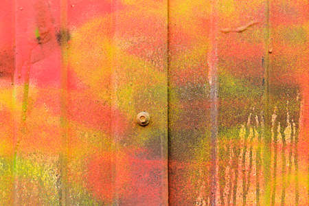 Metallic siding background painted in different colors like red yellow and gradients