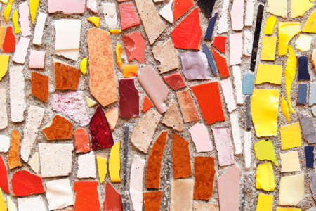 Multicolored mosaic texture and background. Close up.