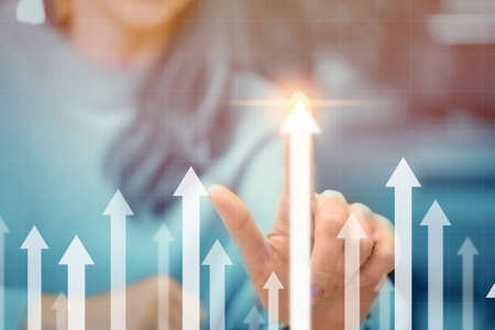 Business growth and profit concept with upward arrows.