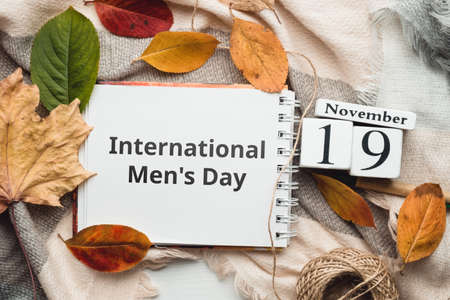 International Men Day of autumn month calendar November.
