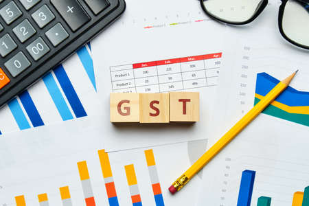 GST Goods and Service Tax Identification Number concept with graphs.