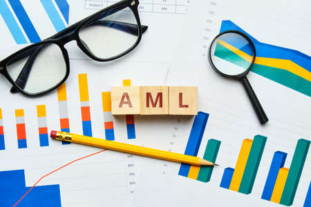 AML Anti-money Laundering concept with graphs on paper.