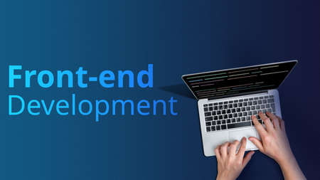 Concept front-end development with person and laptop.