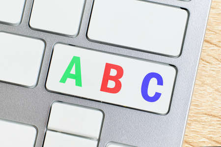 abc or school education concept on keyboard button. Close up.