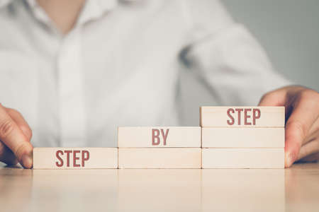 Business Woman Lined Ladder With Step By Step Concept. 스톡 콘텐츠