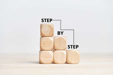 Business concept with strategy step by step on the stairs.