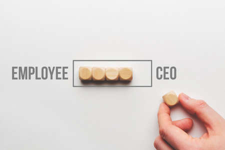 Career growth concept from employee to ceo