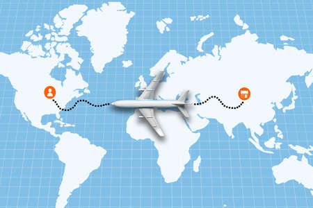 The concept of delivering goods by plane from a store to a customer on an abstract world map