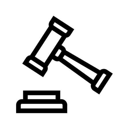 judge hammer outline icon isolated on white background