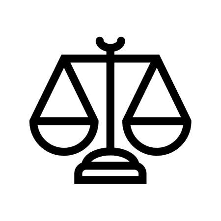 scales law outline icon isolated on white background