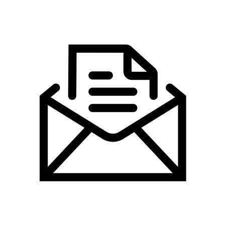 Envelope document outline icon isolated on white background 일러스트