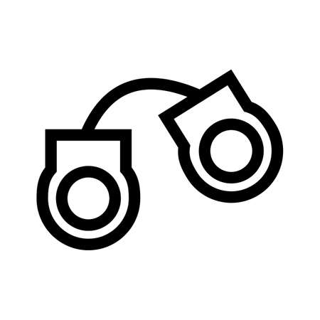 Handcuffs iron outline icon isolated on white background