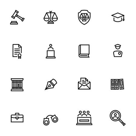 A set of laws and legal outline icon isolated on white background