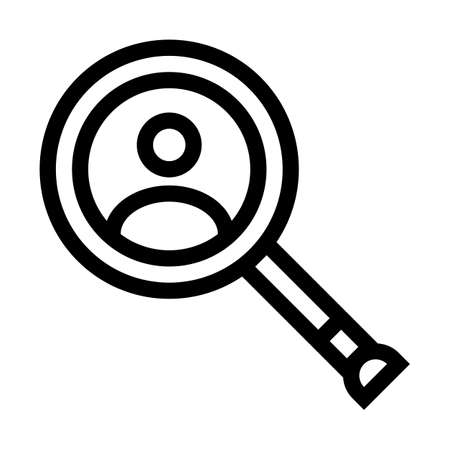 Person under a magnifying glass outline icon isolated on white background