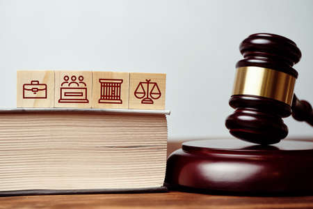 Judicial gavel next to book and icons of prison, jury and scales.