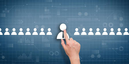 The concept of selecting an employee among other candidates on an abstract digital display