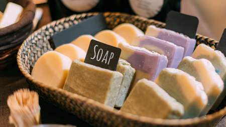 Handmade fragrant soap lies for sale in the store.