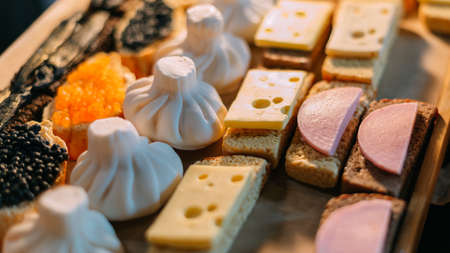 Handmade aromatic soap in the shape of food and sandwiches lies for sale in the store. 写真素材