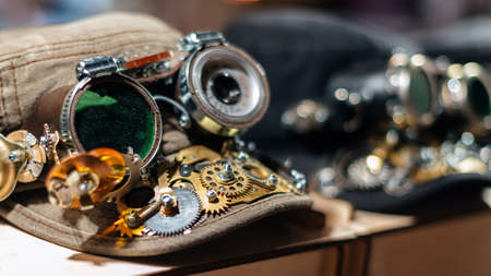 Cap of metal parts in the style of steampunk. 写真素材