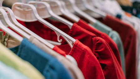 Multicolored cotton t-shirts hang on hangers in the store. 写真素材