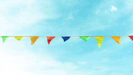 Festive ribbon made of multicolored triangles toned. 写真素材