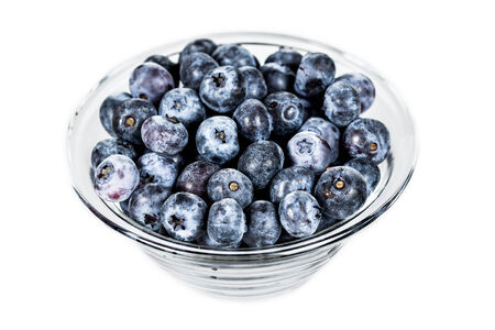 Glass jar with blueberries