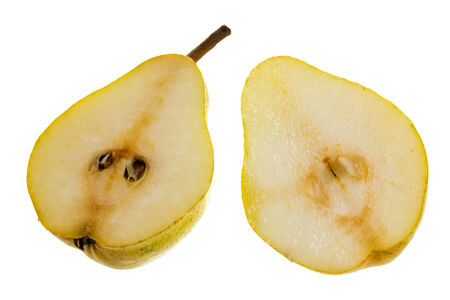 two and a half: Two half pears isolated on white background Stock Photo