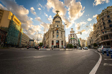 Madrid capital of Spain in Gran Vía street with Alcalá street