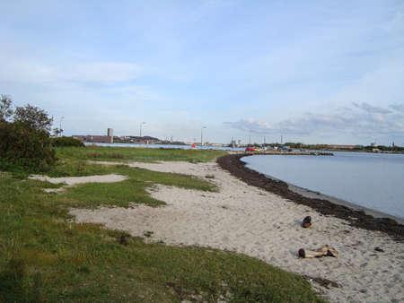 Beach of island of Egholm in Aalborg in Denmark