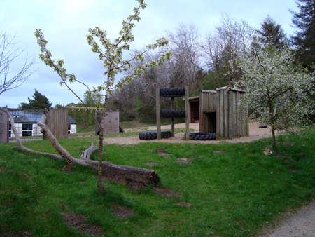Playground near a school on the Danish countryside