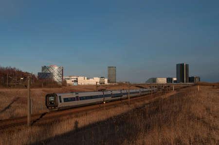 danish: Copenhagen - april 9. 2013: A DSB train on Amager in Copenhagen Denmark Editorial
