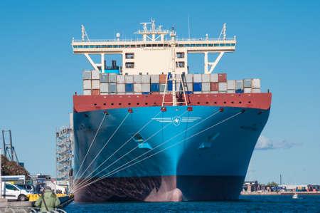 danish: Copenhagen Denmark - September 27. 2013: Container ship Majestic Maersk in Copenhagen Harbor