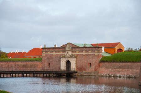 Teh port towards Kronborg castle in Denmark on an autumn day Editorial